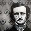 "E.A. Poe - 10""x10"" Ink & Acrylic on wood panel (SOLD)"