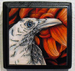 "White Raven - 3""x3"" Copic Marker & Ink on plaque (SOLD)"